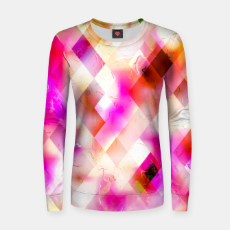 geometric square pixel pattern abstract art background in pink Women sweater thumbnail image