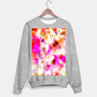 geometric square pixel pattern abstract art background in pink Sweater regular thumbnail image