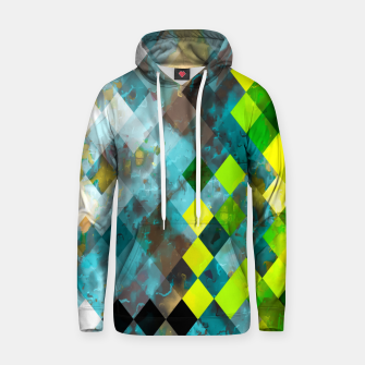 geometric square pixel pattern abstract art background in blue green Hoodie thumbnail image