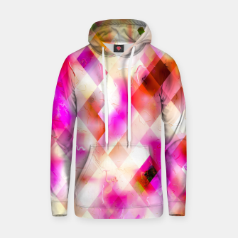 geometric square pixel pattern abstract art background in pink Hoodie thumbnail image
