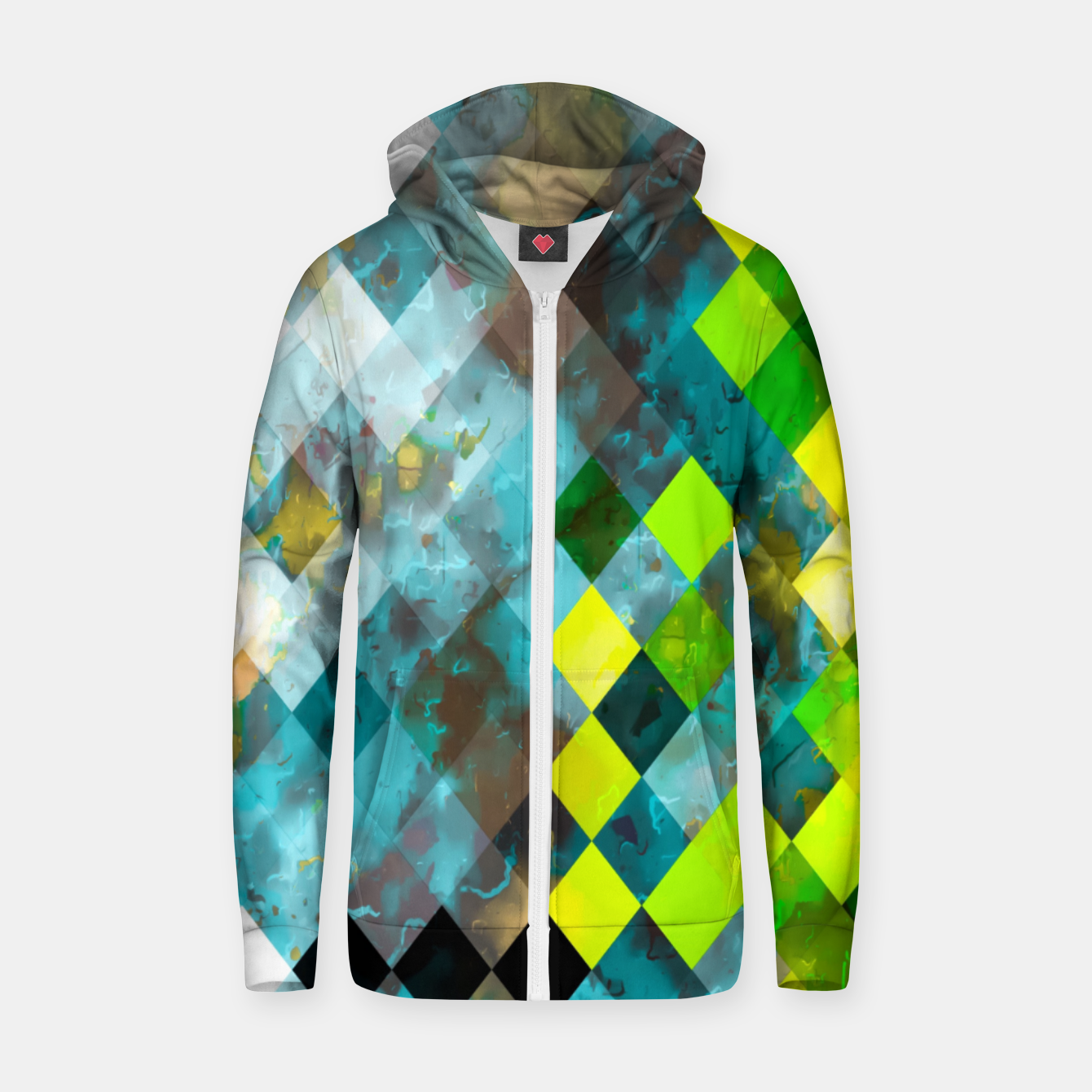Image of geometric square pixel pattern abstract art background in blue green Zip up hoodie - Live Heroes