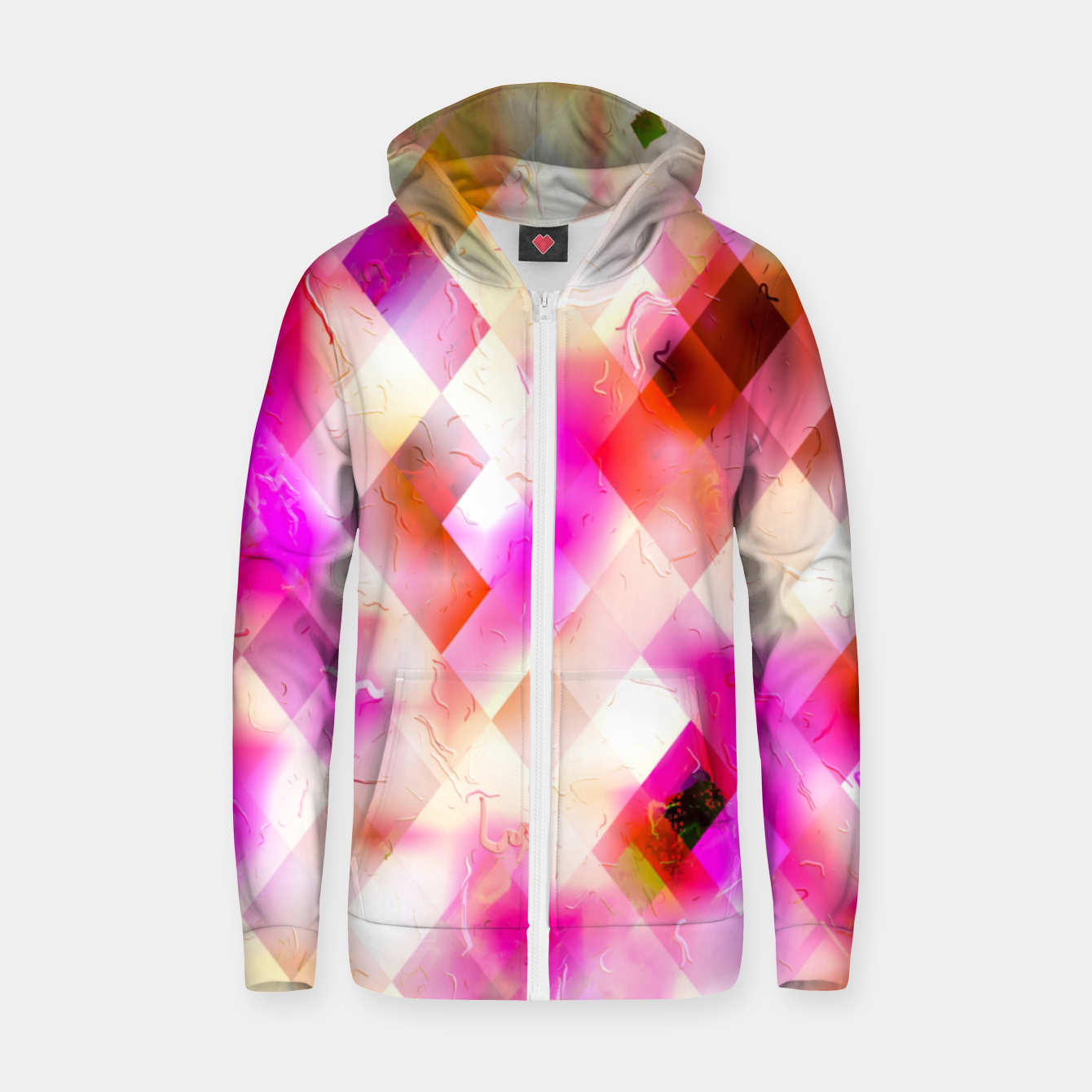 Image of geometric square pixel pattern abstract art background in pink Zip up hoodie - Live Heroes
