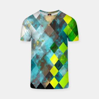 geometric square pixel pattern abstract art background in blue green T-shirt thumbnail image