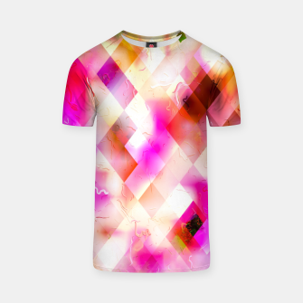 geometric square pixel pattern abstract art background in pink T-shirt thumbnail image