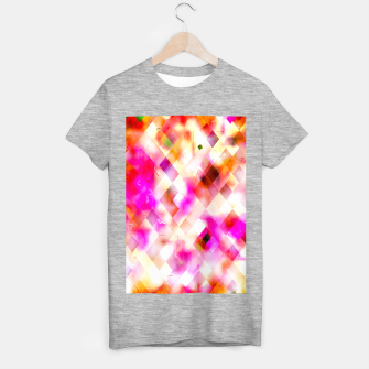 geometric square pixel pattern abstract art background in pink T-shirt regular thumbnail image