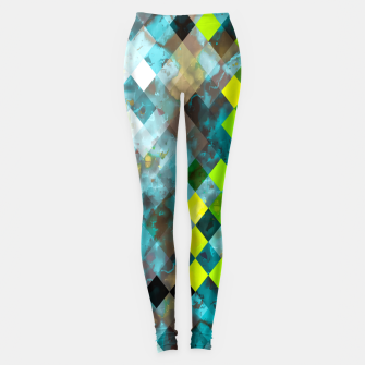 geometric square pixel pattern abstract art background in blue green Leggings thumbnail image