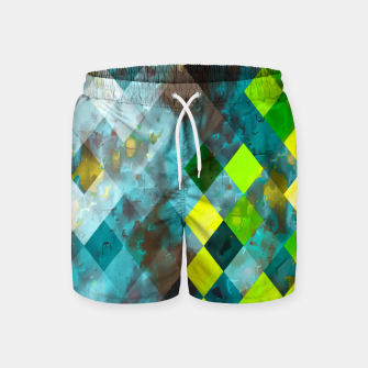 geometric square pixel pattern abstract art background in blue green Swim Shorts thumbnail image