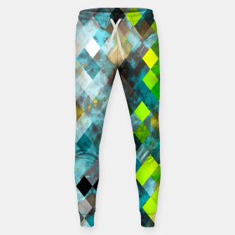 Thumbnail image of geometric square pixel pattern abstract art background in blue green Sweatpants, Live Heroes
