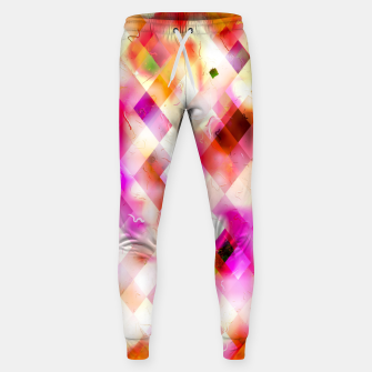 geometric square pixel pattern abstract art background in pink Sweatpants thumbnail image