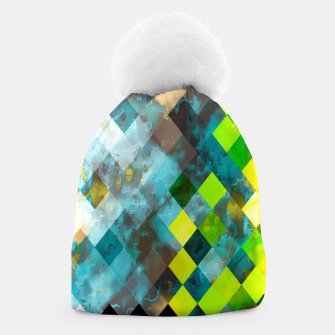 geometric square pixel pattern abstract art background in blue green Beanie thumbnail image