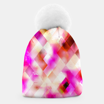 geometric square pixel pattern abstract art background in pink Beanie thumbnail image