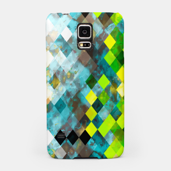 geometric square pixel pattern abstract art background in blue green Samsung Case thumbnail image