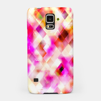 geometric square pixel pattern abstract art background in pink Samsung Case thumbnail image
