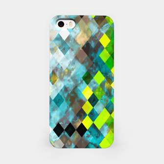 geometric square pixel pattern abstract art background in blue green iPhone Case thumbnail image