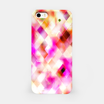 geometric square pixel pattern abstract art background in pink iPhone Case thumbnail image