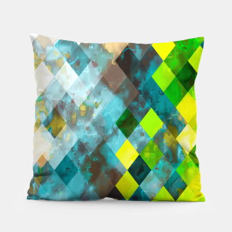 geometric square pixel pattern abstract art background in blue green Pillow thumbnail image