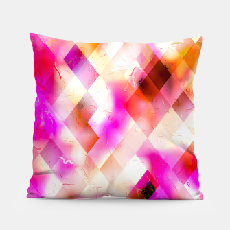 geometric square pixel pattern abstract art background in pink Pillow thumbnail image