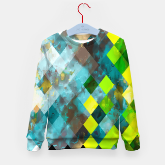 geometric square pixel pattern abstract art background in blue green Kid's sweater thumbnail image