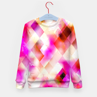 geometric square pixel pattern abstract art background in pink Kid's sweater thumbnail image