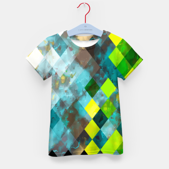 geometric square pixel pattern abstract art background in blue green Kid's t-shirt thumbnail image