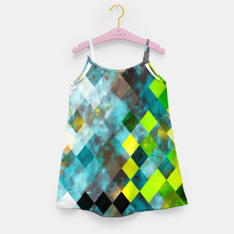 geometric square pixel pattern abstract art background in blue green Girl's dress thumbnail image