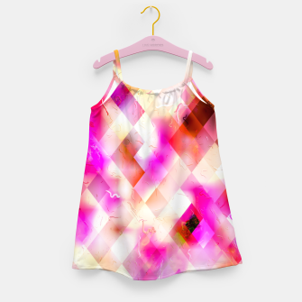 geometric square pixel pattern abstract art background in pink Girl's dress thumbnail image