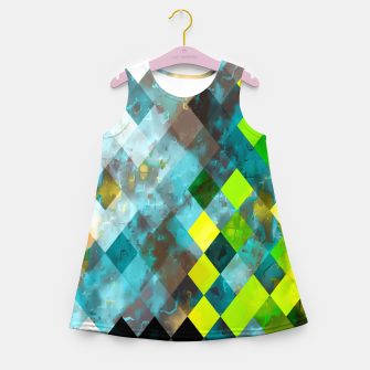 geometric square pixel pattern abstract art background in blue green Girl's summer dress thumbnail image