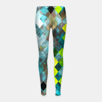 geometric square pixel pattern abstract art background in blue green Girl's leggings thumbnail image