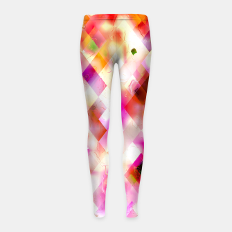 geometric square pixel pattern abstract art background in pink Girl's leggings thumbnail image