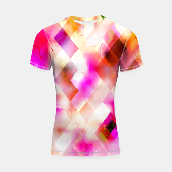 geometric square pixel pattern abstract art background in pink Shortsleeve rashguard thumbnail image