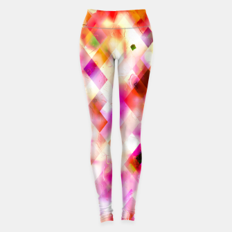geometric square pixel pattern abstract art background in pink Leggings thumbnail image