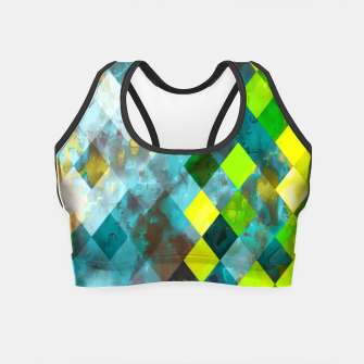 geometric square pixel pattern abstract art background in blue green Crop Top thumbnail image