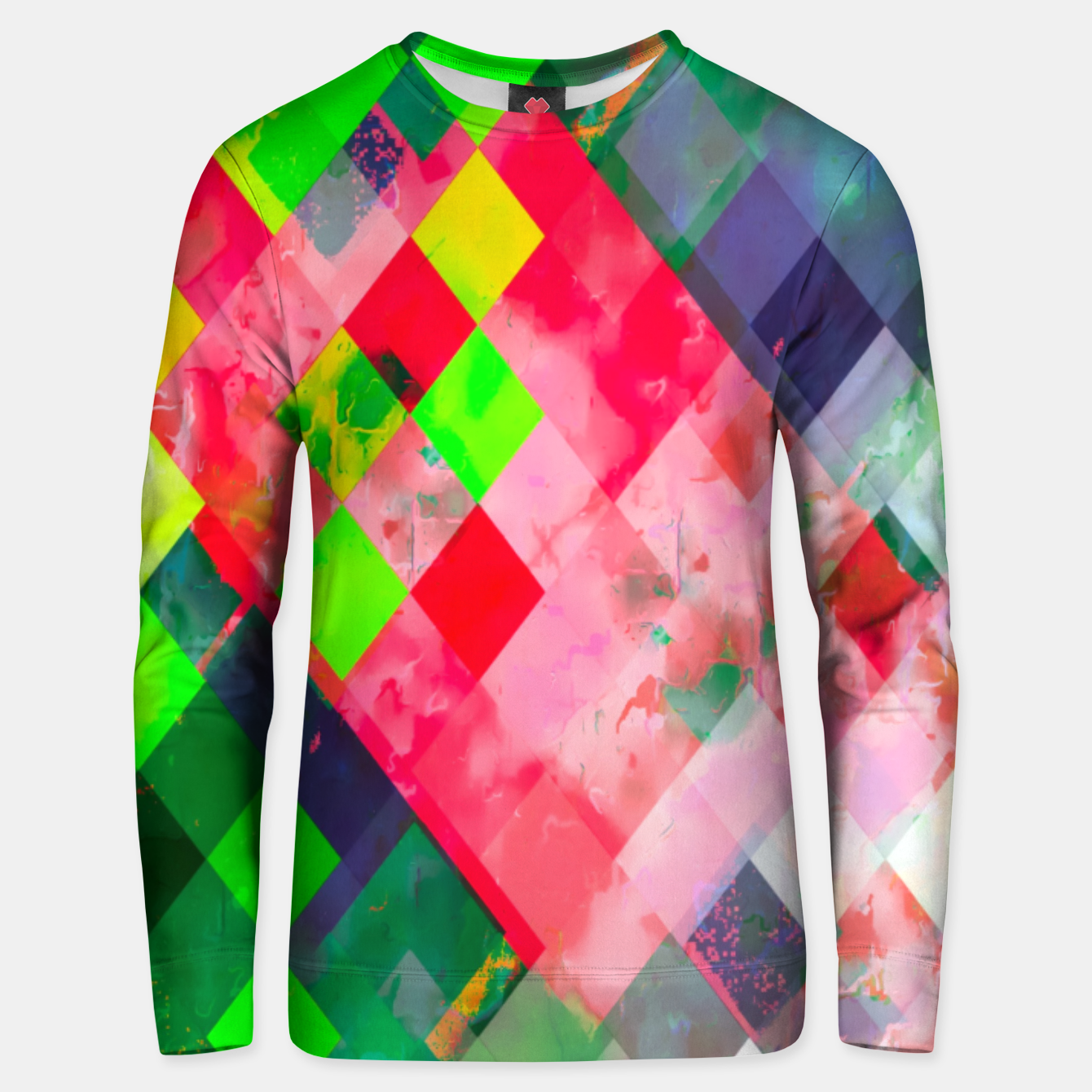 Image of geometric square pixel pattern abstract art background in green red Unisex sweater - Live Heroes