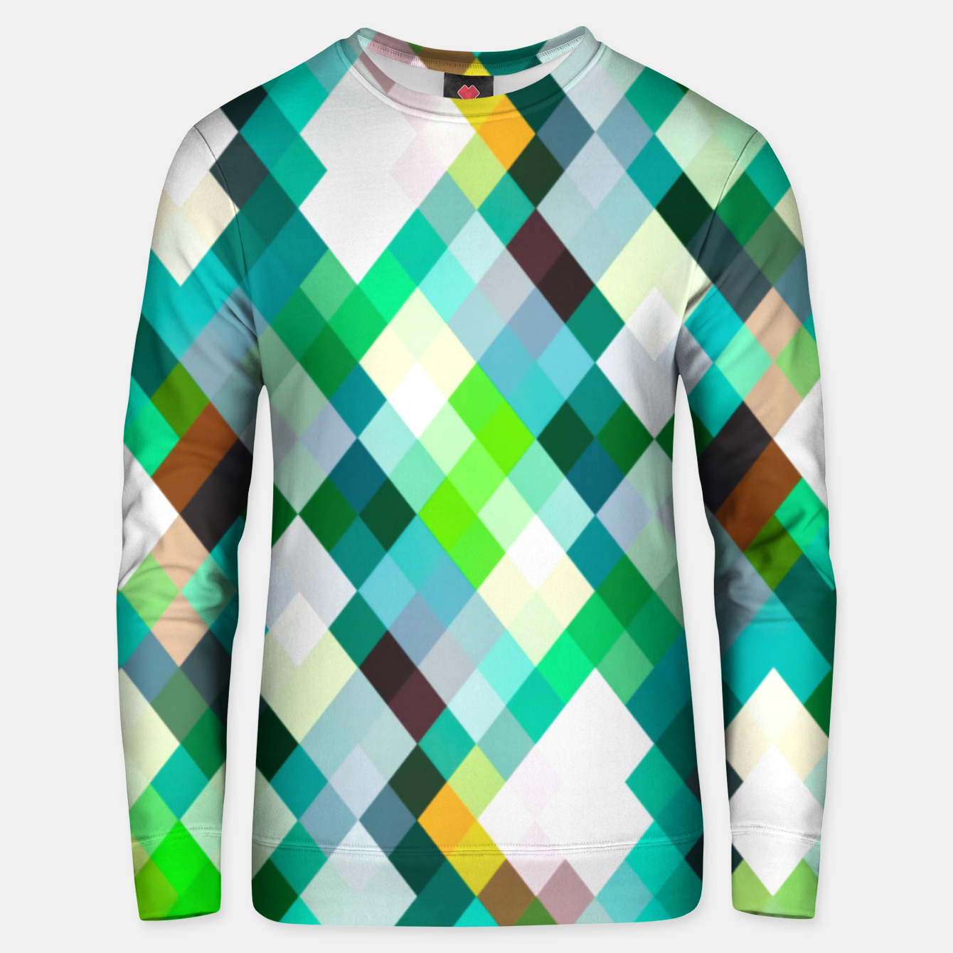 Image of geometric square pixel pattern abstract art background in green red yellow Unisex sweater - Live Heroes