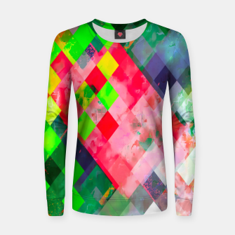 geometric square pixel pattern abstract art background in green red Women sweater thumbnail image