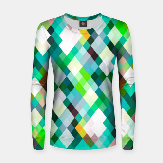 geometric square pixel pattern abstract art background in green red yellow Women sweater thumbnail image