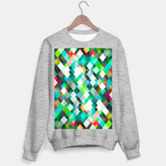 geometric square pixel pattern abstract art background in green red yellow Sweater regular thumbnail image