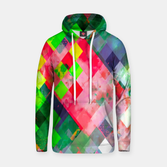 geometric square pixel pattern abstract art background in green red Hoodie thumbnail image