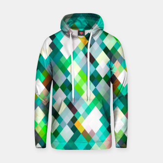 geometric square pixel pattern abstract art background in green red yellow Hoodie thumbnail image