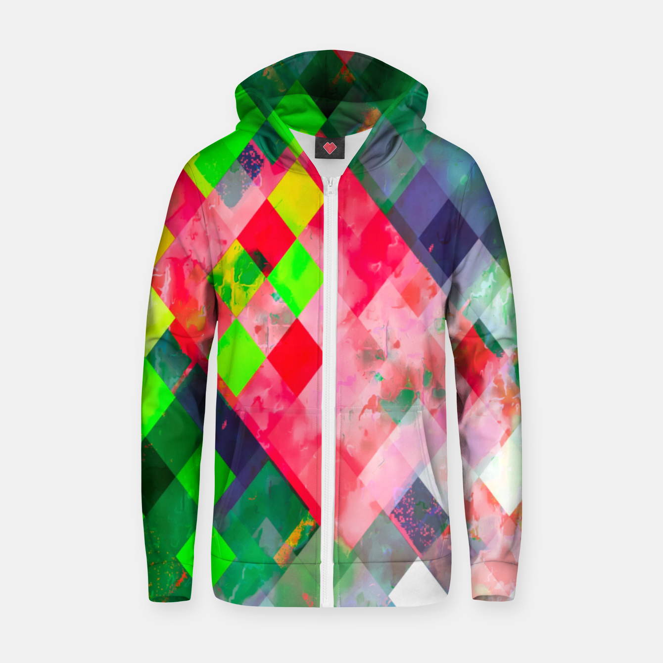 Image of geometric square pixel pattern abstract art background in green red Zip up hoodie - Live Heroes