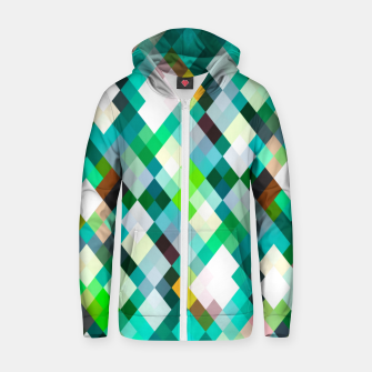 geometric square pixel pattern abstract art background in green red yellow Zip up hoodie thumbnail image