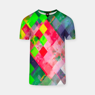 geometric square pixel pattern abstract art background in green red T-shirt thumbnail image