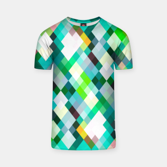 geometric square pixel pattern abstract art background in green red yellow T-shirt thumbnail image