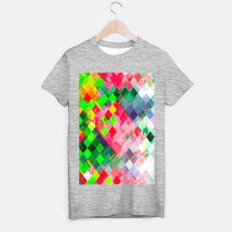 geometric square pixel pattern abstract art background in green red T-shirt regular thumbnail image