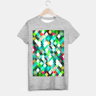 geometric square pixel pattern abstract art background in green red yellow T-shirt regular thumbnail image