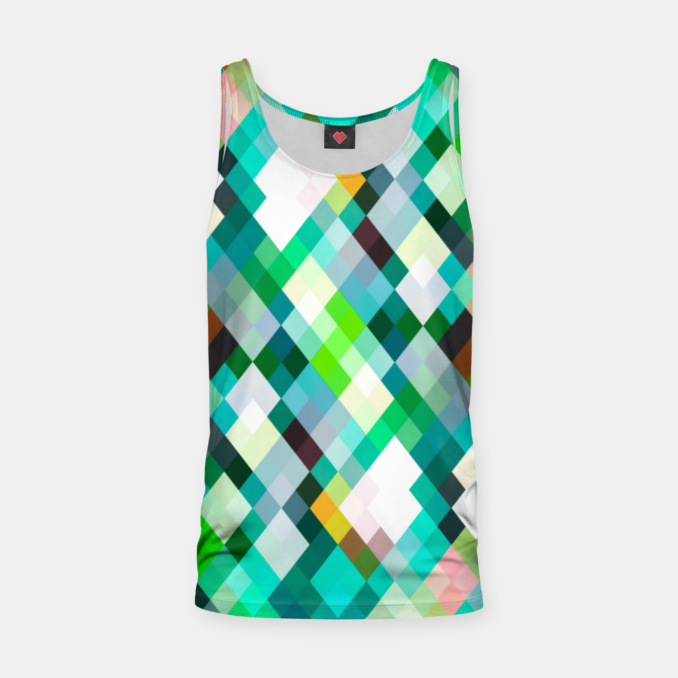 Image of geometric square pixel pattern abstract art background in green red yellow Tank Top - Live Heroes