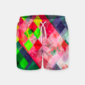 geometric square pixel pattern abstract art background in green red Swim Shorts thumbnail image