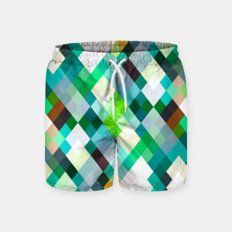 geometric square pixel pattern abstract art background in green red yellow Swim Shorts thumbnail image