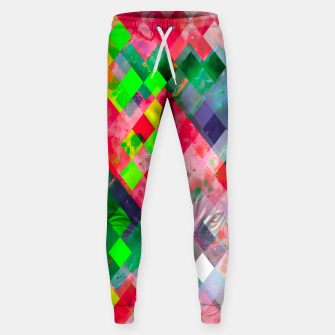 geometric square pixel pattern abstract art background in green red Sweatpants thumbnail image