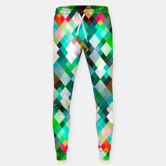 geometric square pixel pattern abstract art background in green red yellow Sweatpants thumbnail image
